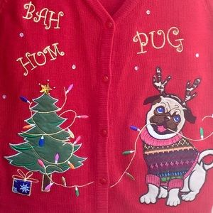 Holiday Time Sweaters - Red Ugly Christmas Sweater Vest Bah Hum Pug Sz L
